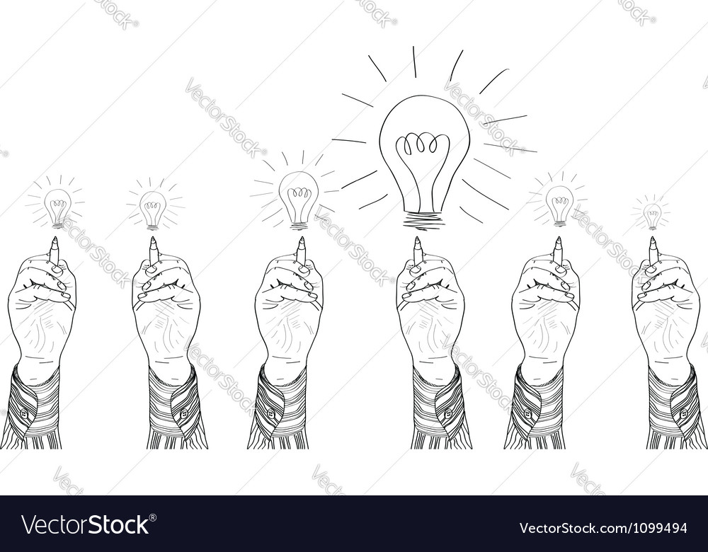 Hands drawing lightbulbs vector | Price: 1 Credit (USD $1)