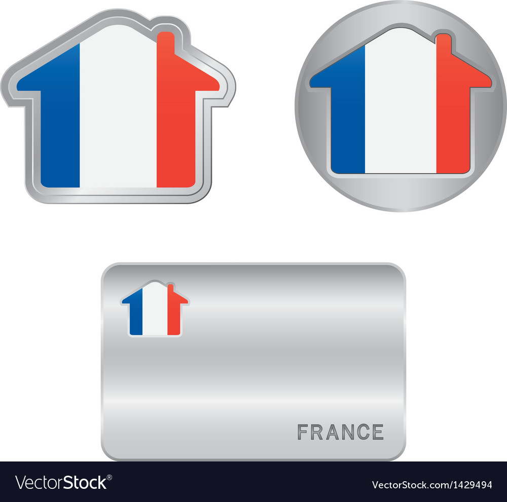 Home icon on the france flag vector | Price: 1 Credit (USD $1)