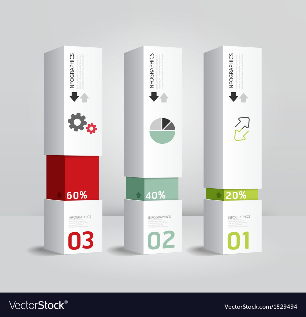 Infographic template modern box design minimal sty vector | Price: 1 Credit (USD $1)