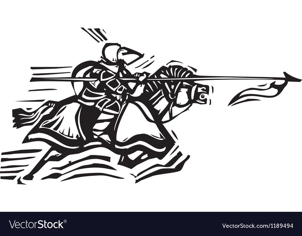Jousting knight left vector