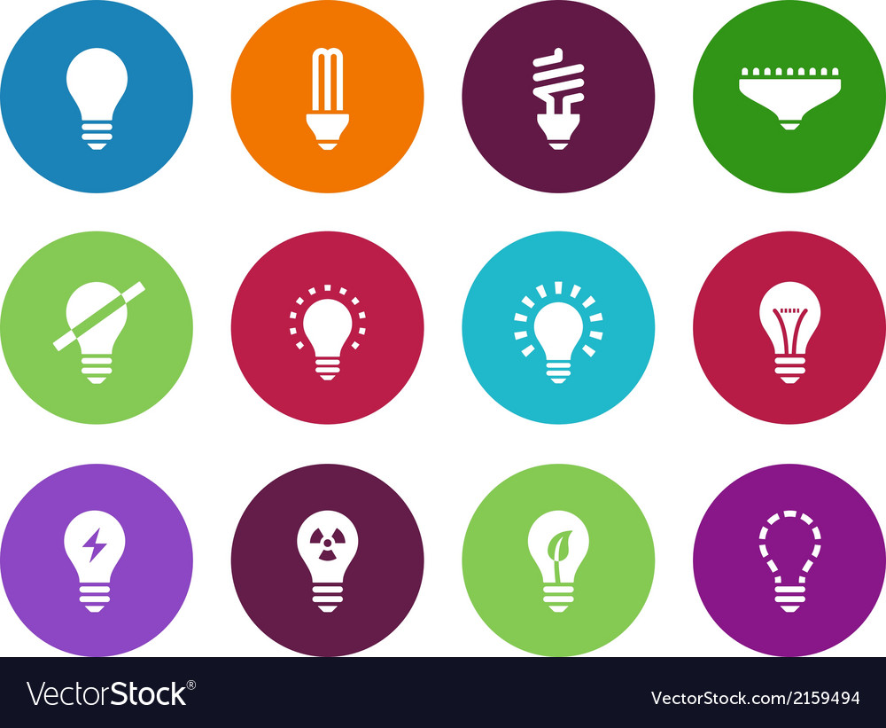 Light bulb and cfl lamp circle icons vector | Price: 1 Credit (USD $1)
