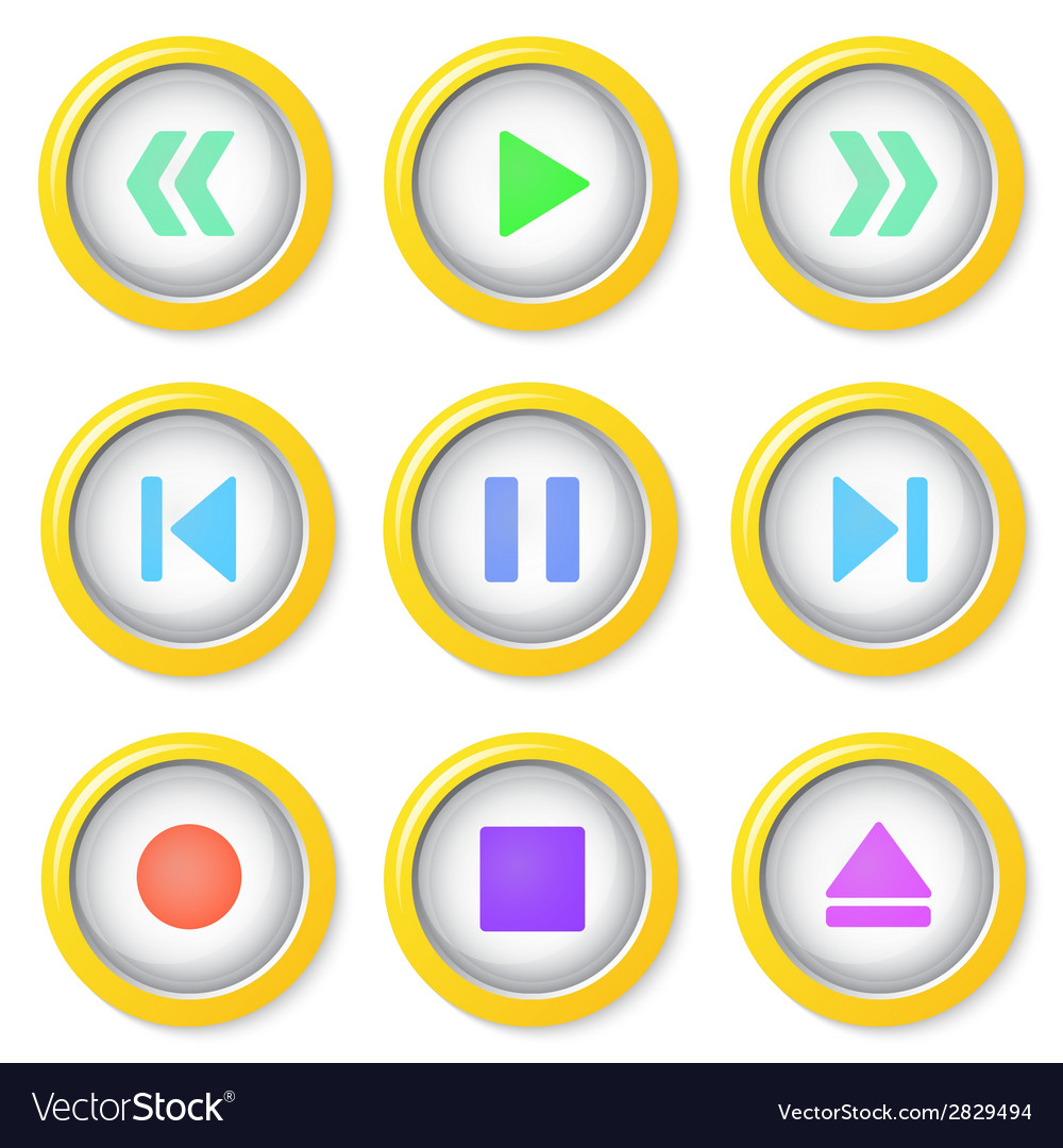Media player buttons collection vector | Price: 1 Credit (USD $1)
