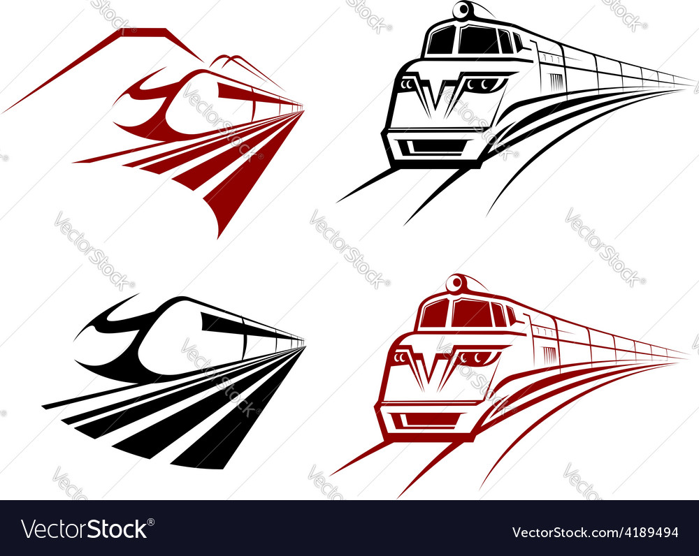 Stylized speeding train or subway icons vector | Price: 1 Credit (USD $1)