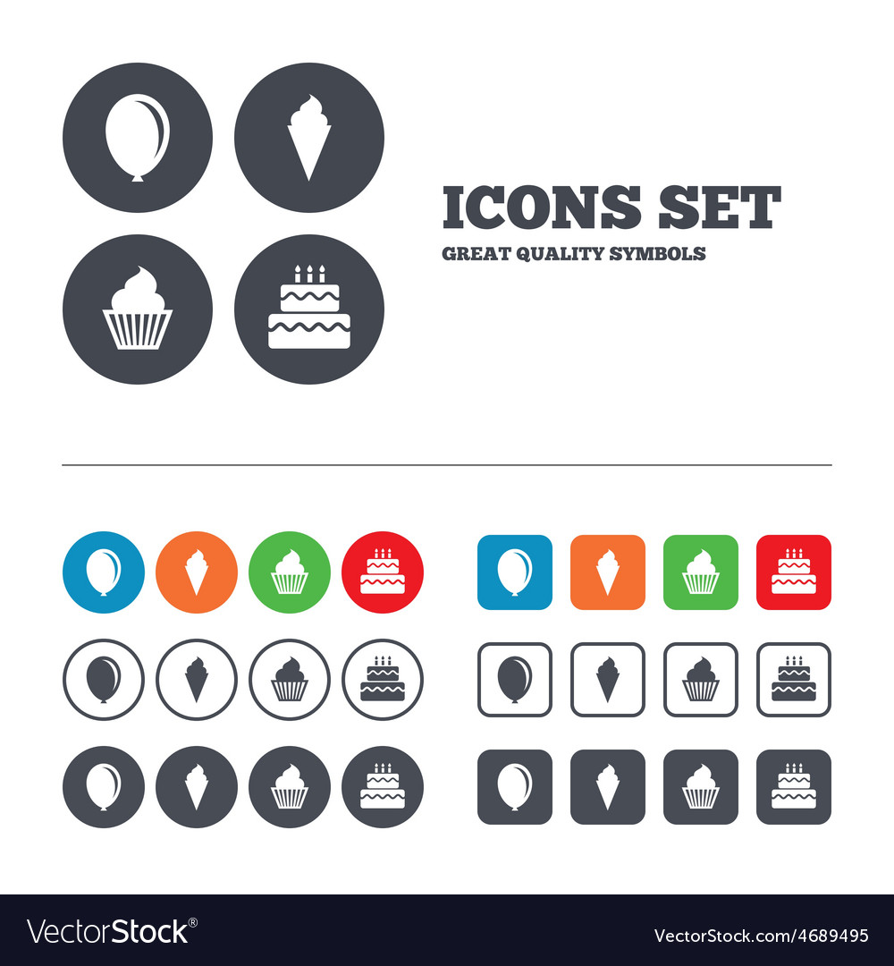 Birthday party icons cake with ice cream symbol vector | Price: 1 Credit (USD $1)