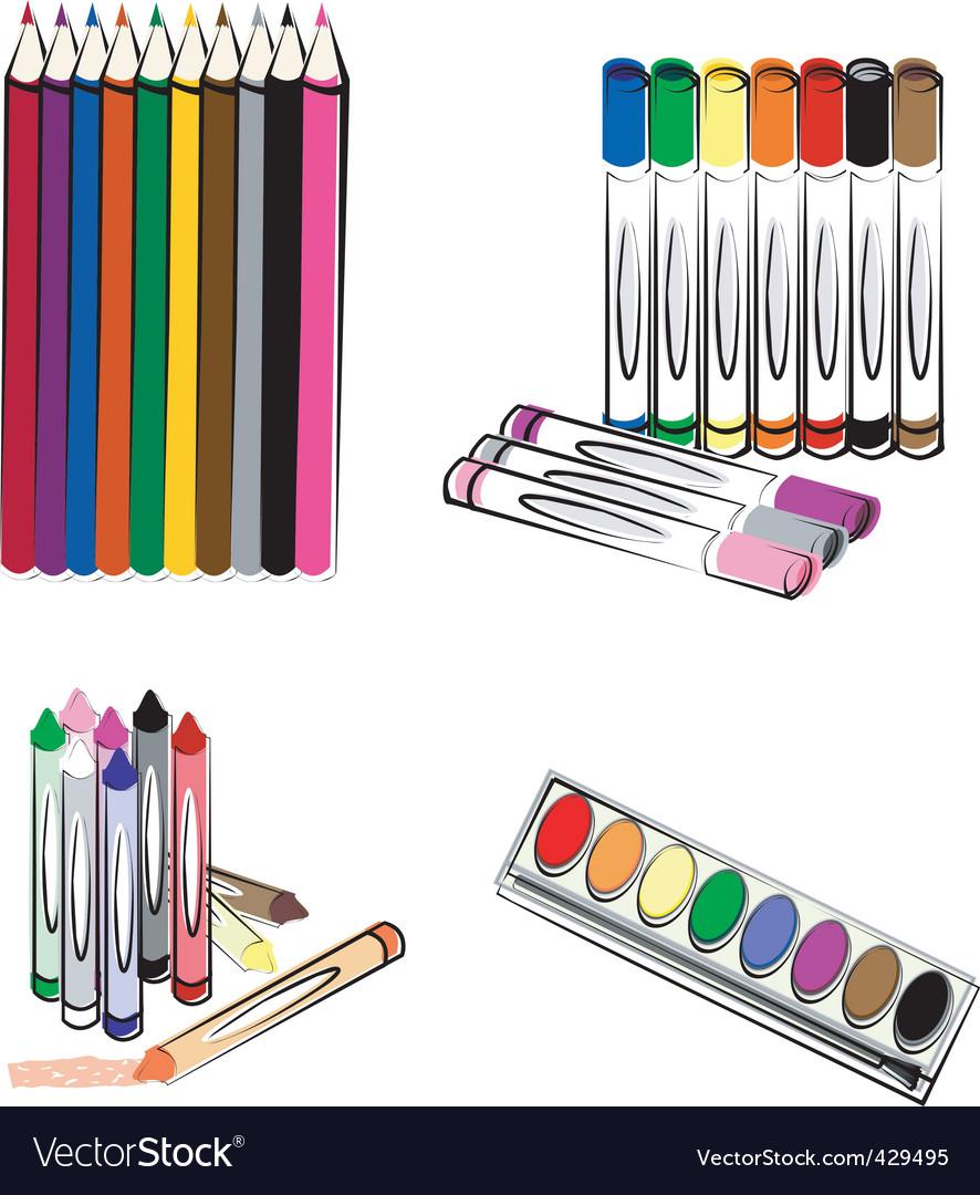 Crayons markers pencils vector   Price: 1 Credit (USD $1)