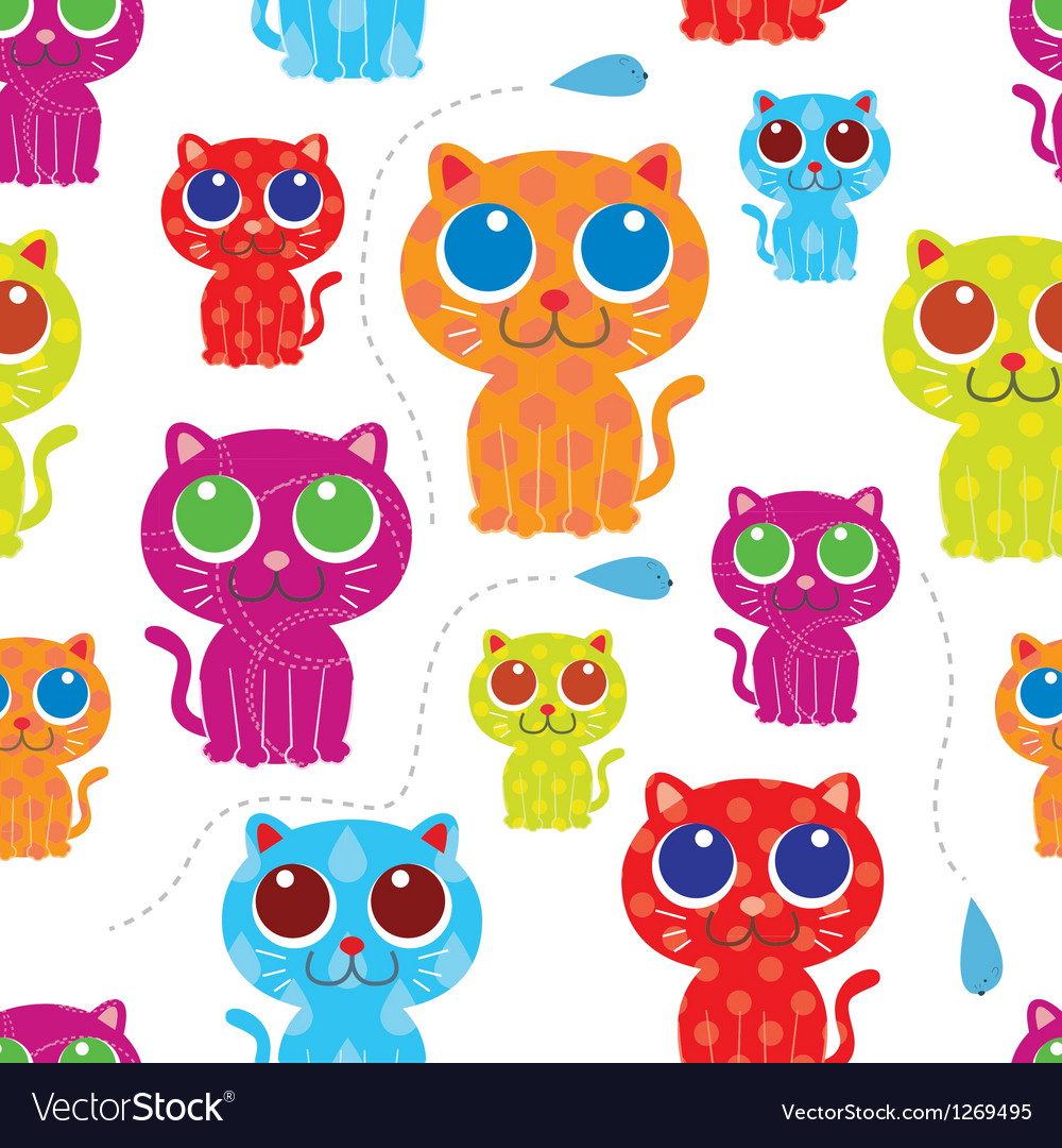 Cute cat seamless pattern vector | Price: 1 Credit (USD $1)