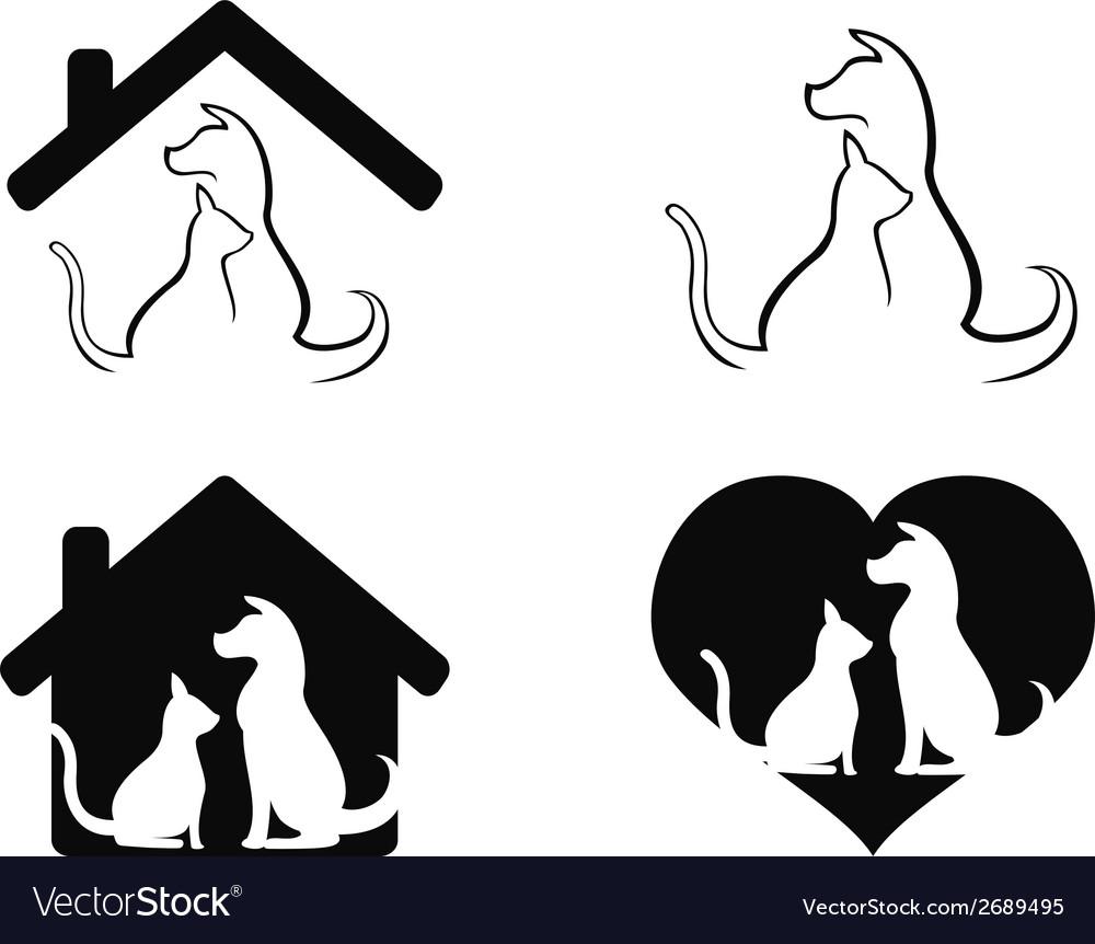 Dog and cat pet caring symbol vector | Price: 1 Credit (USD $1)