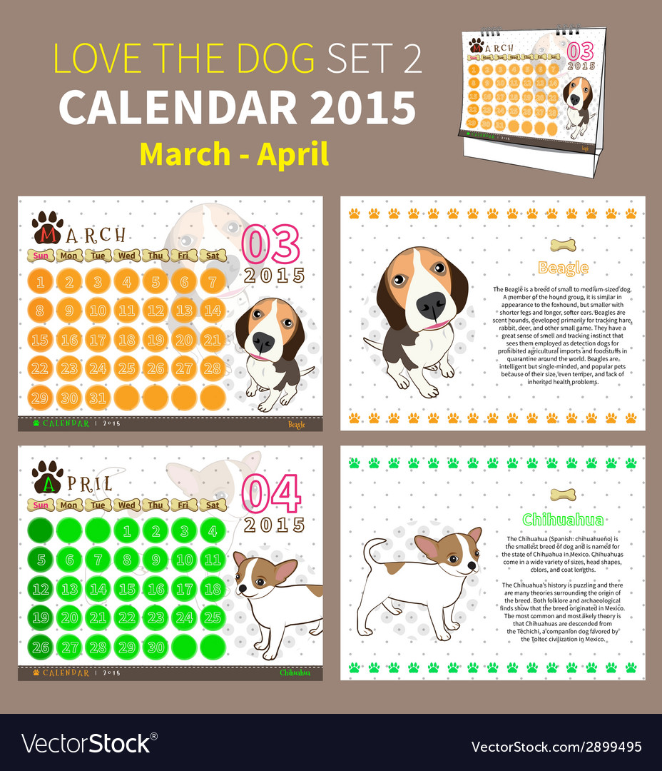 Love the dog calendar 2015 set 2 vector | Price: 1 Credit (USD $1)