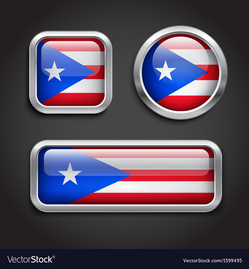 Puerto rico flag glass buttons vector | Price: 1 Credit (USD $1)