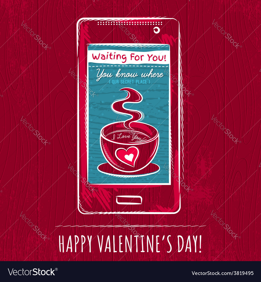 Red valentine card with smart phone vector | Price: 1 Credit (USD $1)