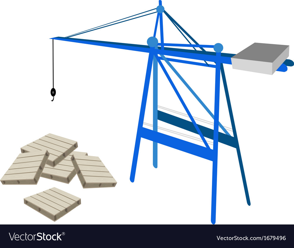 A blue mobile crane with stack of wood pallets vector | Price: 1 Credit (USD $1)