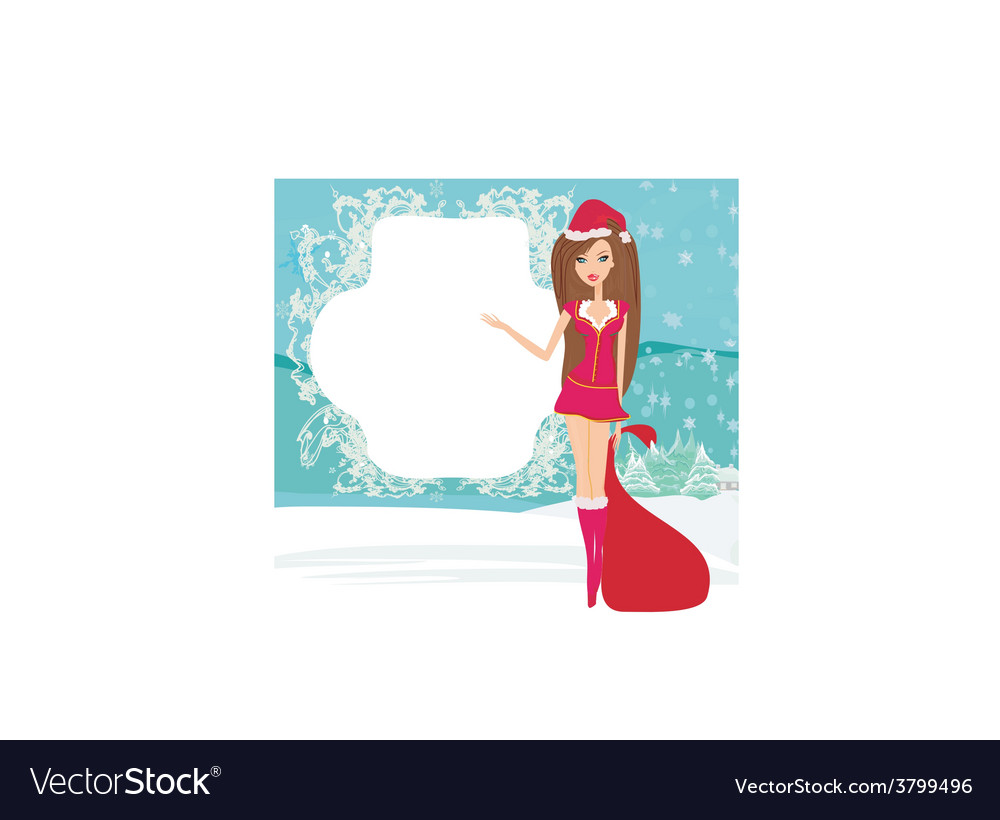 Beautiful pin-up girl in christmas inspired vector | Price: 1 Credit (USD $1)