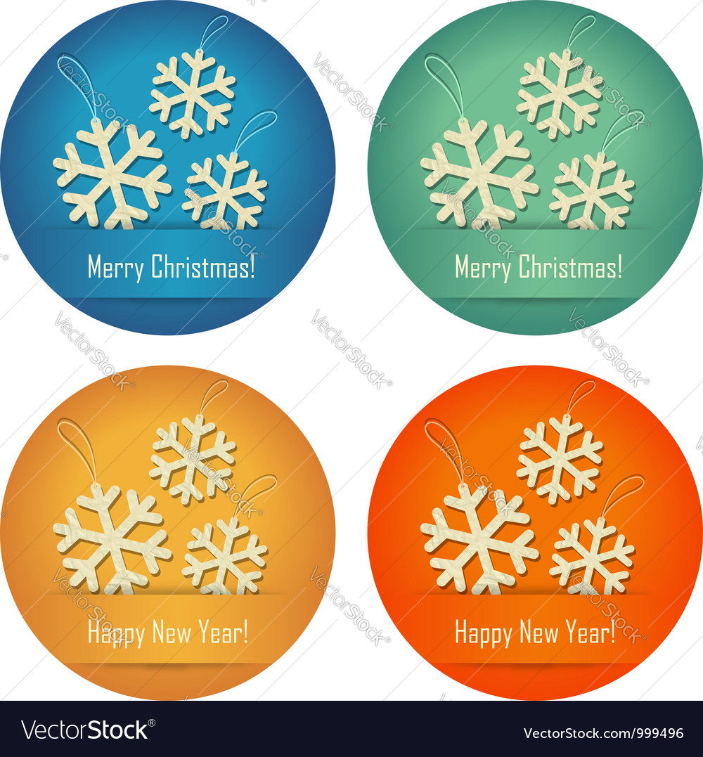 Christmas bubbles with crumpled paper snowflakes vector | Price:  Credit (USD $)
