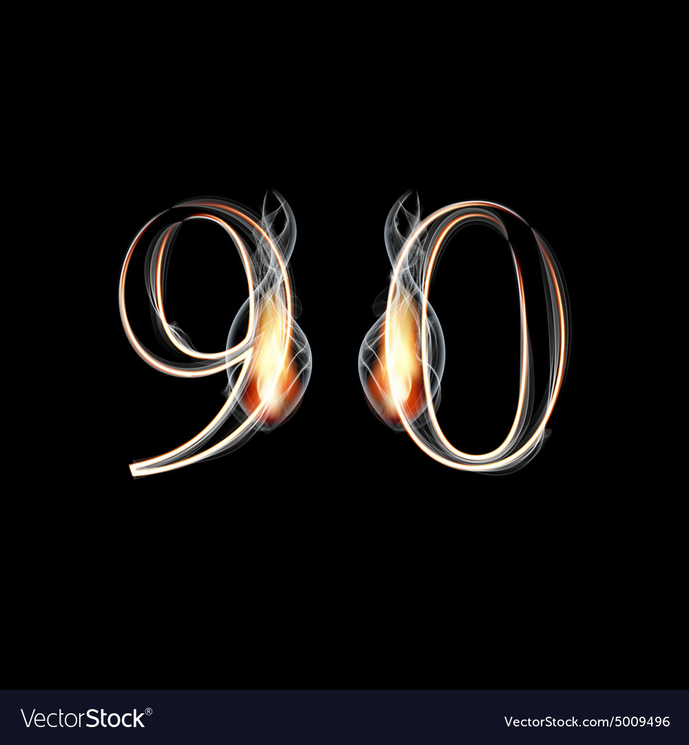 Fire and smoke font numbers 9 0 vector