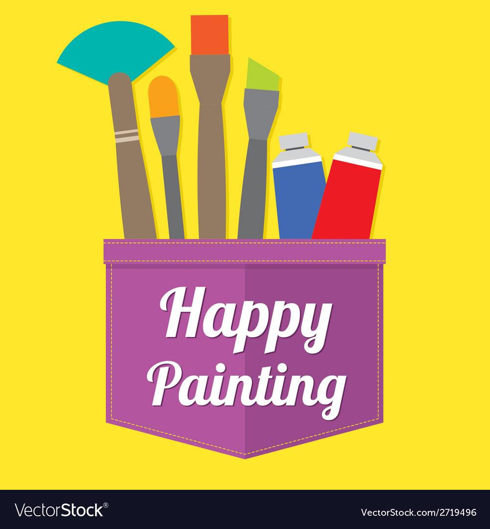 Happy painting vector | Price: 1 Credit (USD $1)