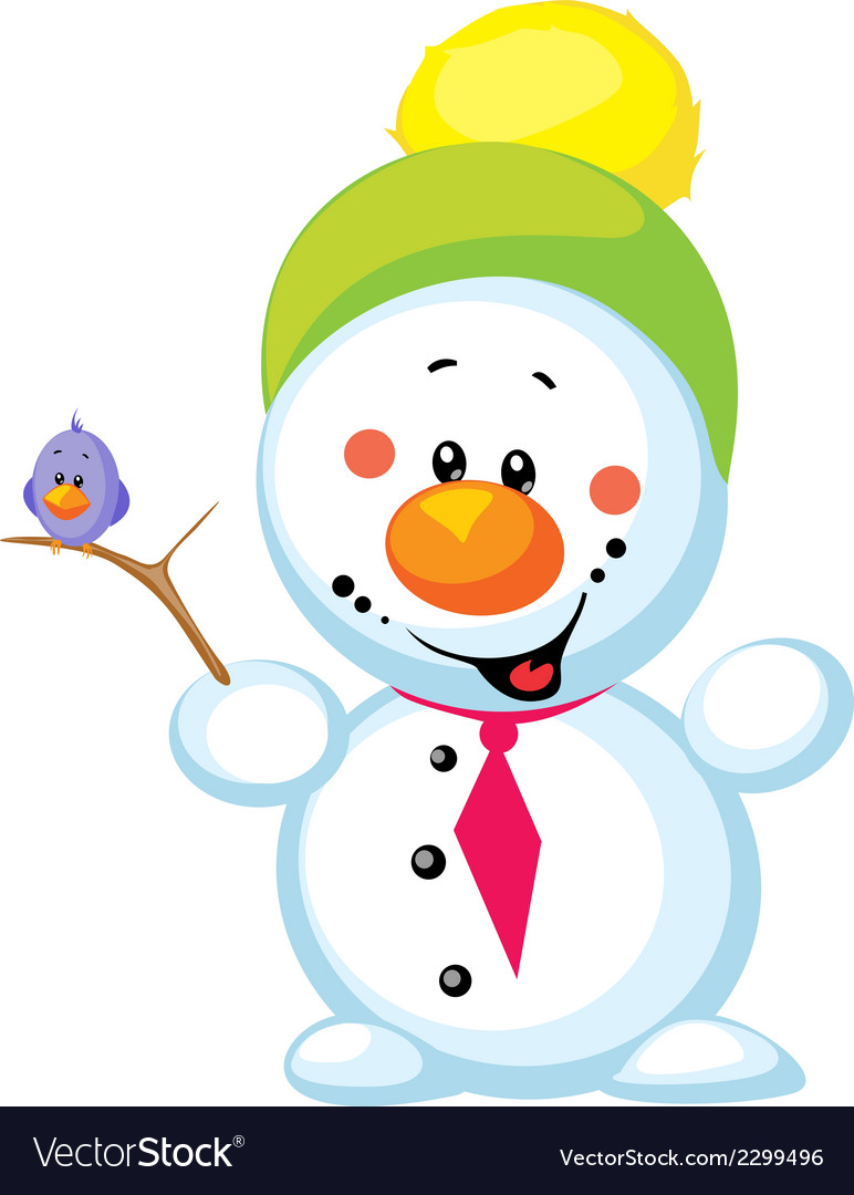Little snowman with bird isolated on white vector   Price: 1 Credit (USD $1)