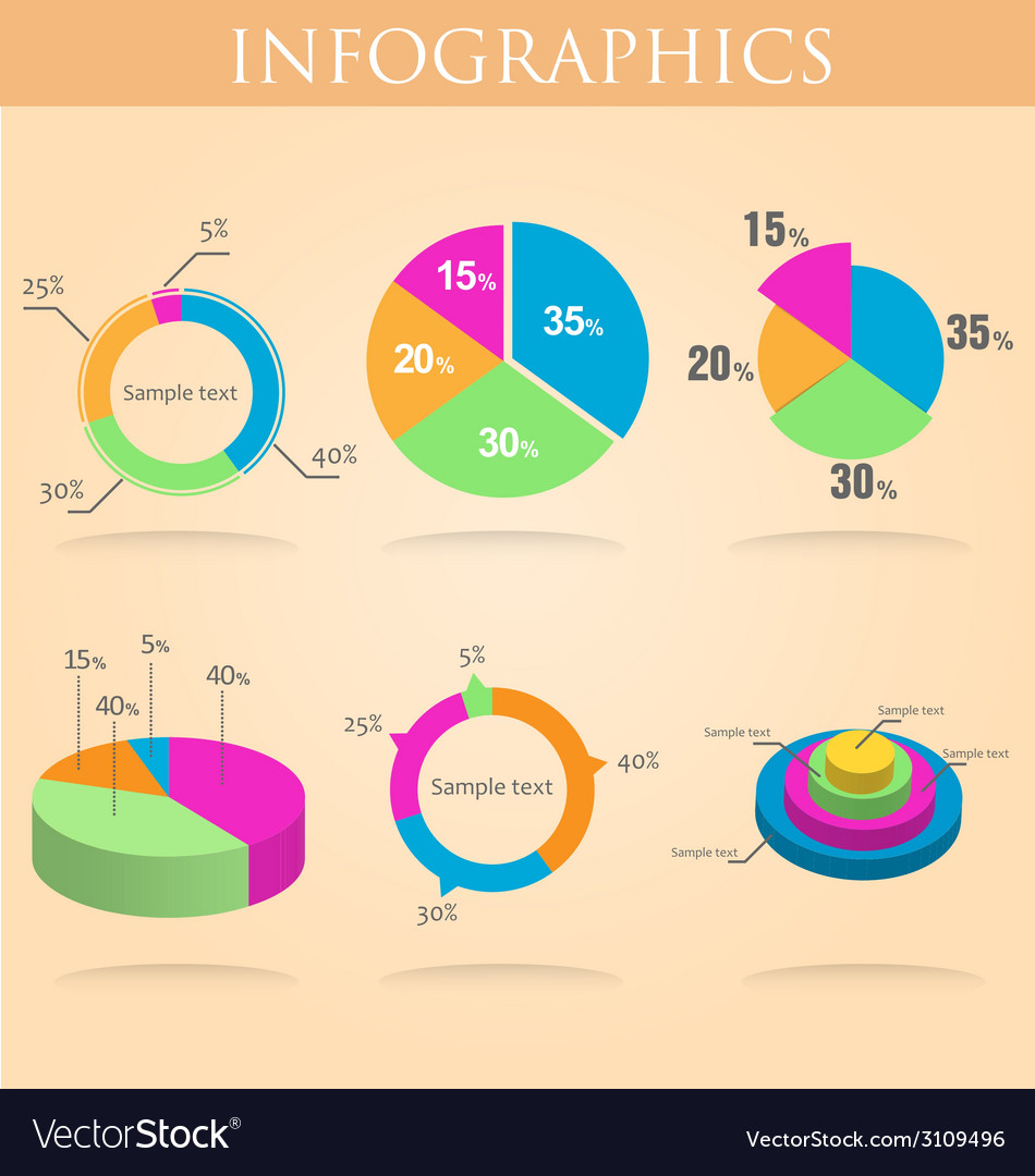 Pie round chart infographics set colorful vector | Price: 1 Credit (USD $1)