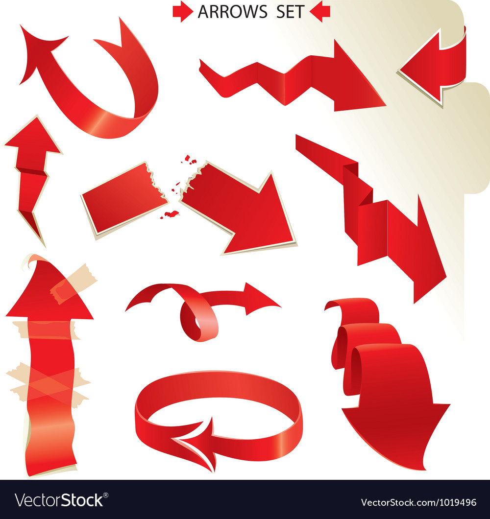 Set of different paper red arrows vector | Price: 1 Credit (USD $1)
