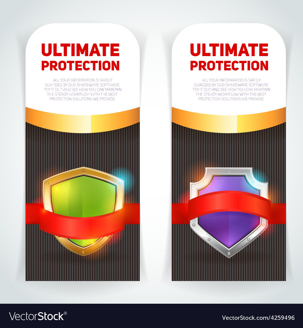 Shield golden frame banners set vector | Price: 1 Credit (USD $1)