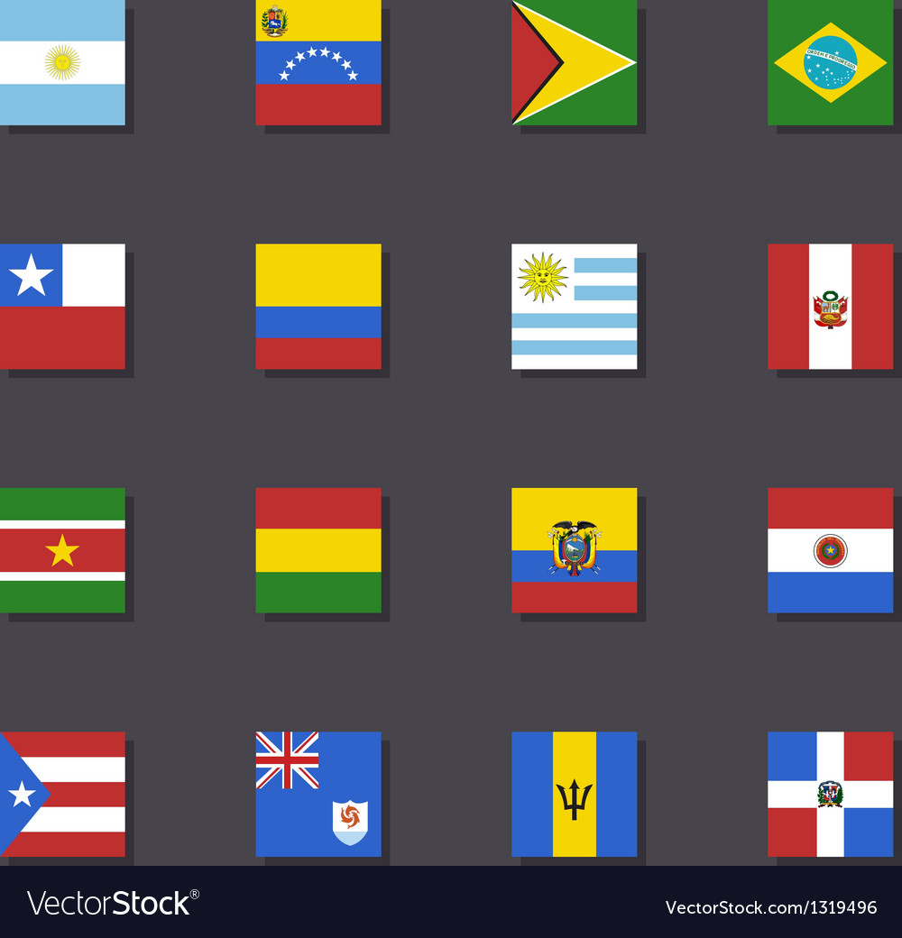 South america flag icon set metro style vector | Price: 1 Credit (USD $1)