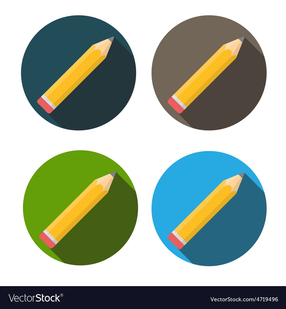 Yellow pencil flat icon with long shadow vector | Price: 1 Credit (USD $1)
