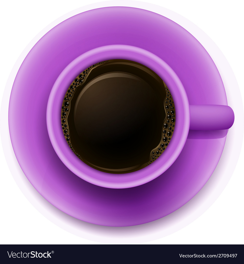 A topview of a purple cup with coffee vector | Price: 1 Credit (USD $1)