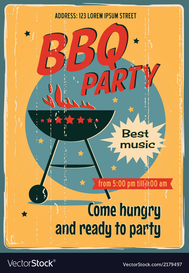 Bbq party poster vector | Price: 1 Credit (USD $1)