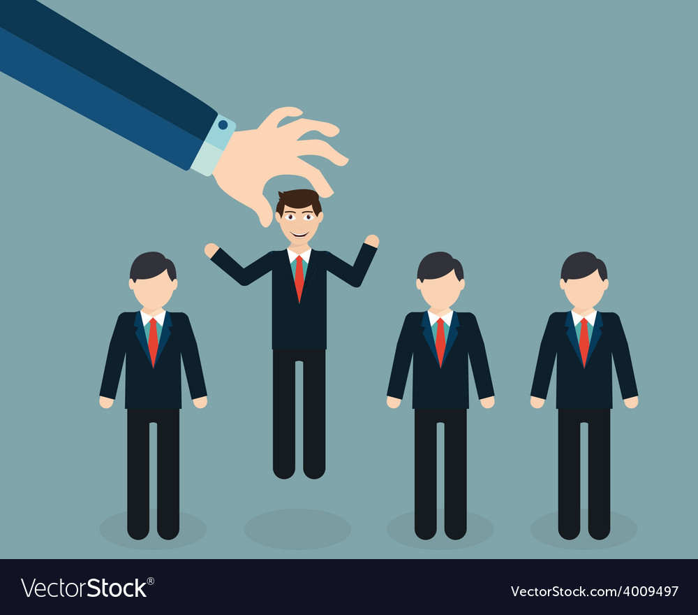 Businessman choosing worker from group of vector | Price: 1 Credit (USD $1)