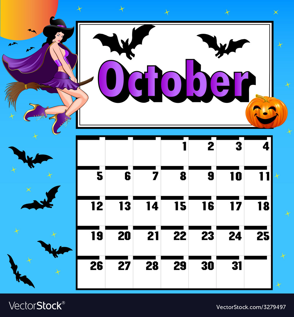 Calendar for october bats pumpkin witch vector | Price: 1 Credit (USD $1)