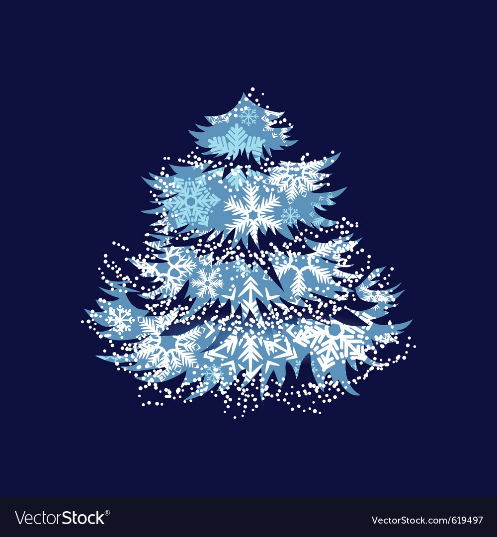 Christmas tree made of snowflakes vector | Price: 1 Credit (USD $1)