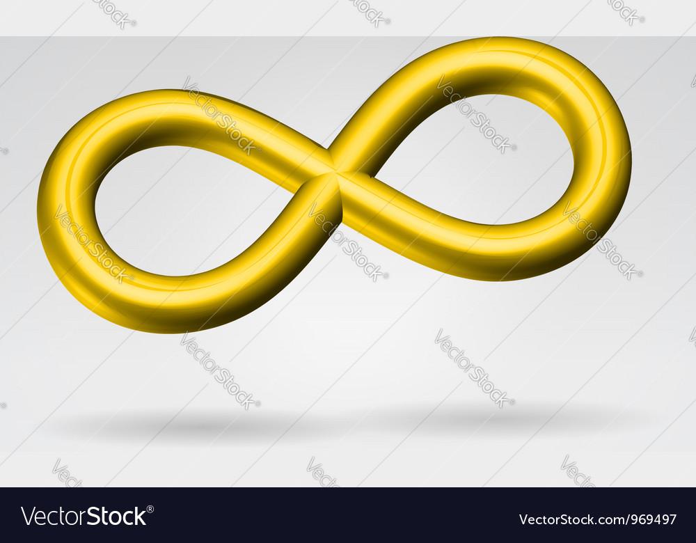Golden metal infinity sign vector | Price:  Credit (USD $)