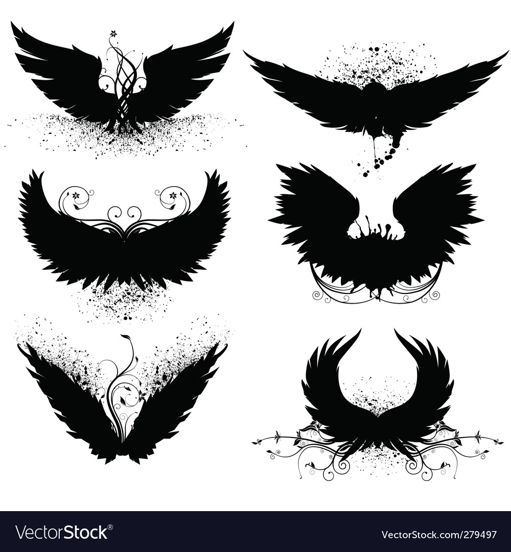 Grunge wing silhouette vector | Price: 1 Credit (USD $1)