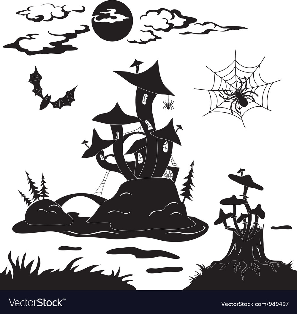 Halloween cartoon landscape vector | Price: 1 Credit (USD $1)