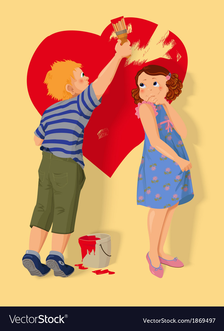 Heart shape boy and girl in love vector | Price: 1 Credit (USD $1)