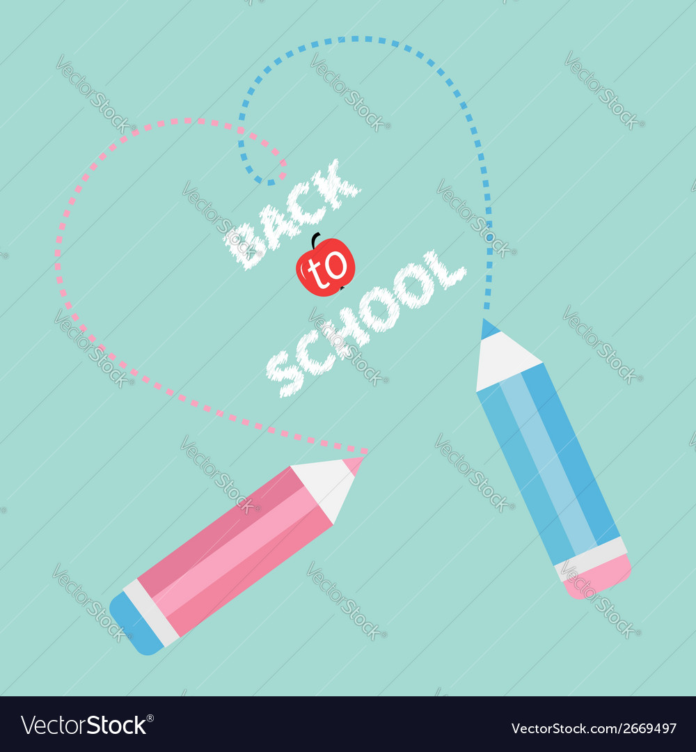 Two pencils dash heart blue back to school vector | Price: 1 Credit (USD $1)