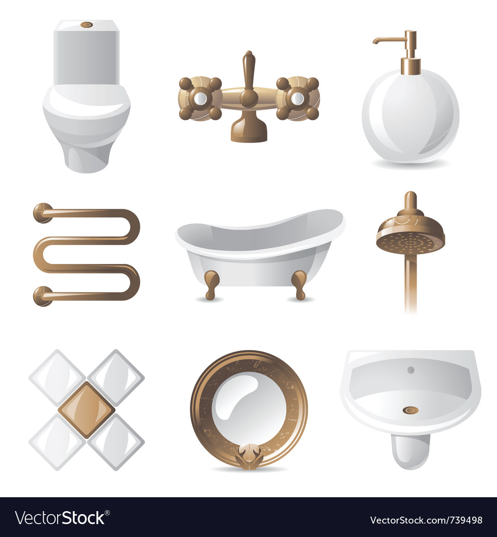 9 vintage styled bathroom icons vector | Price: 3 Credit (USD $3)
