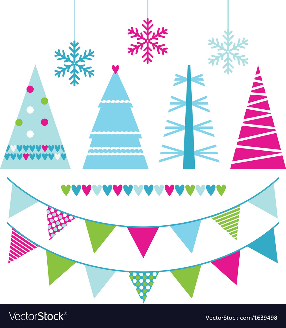 Abstract xmas trees and design elements vector | Price: 1 Credit (USD $1)