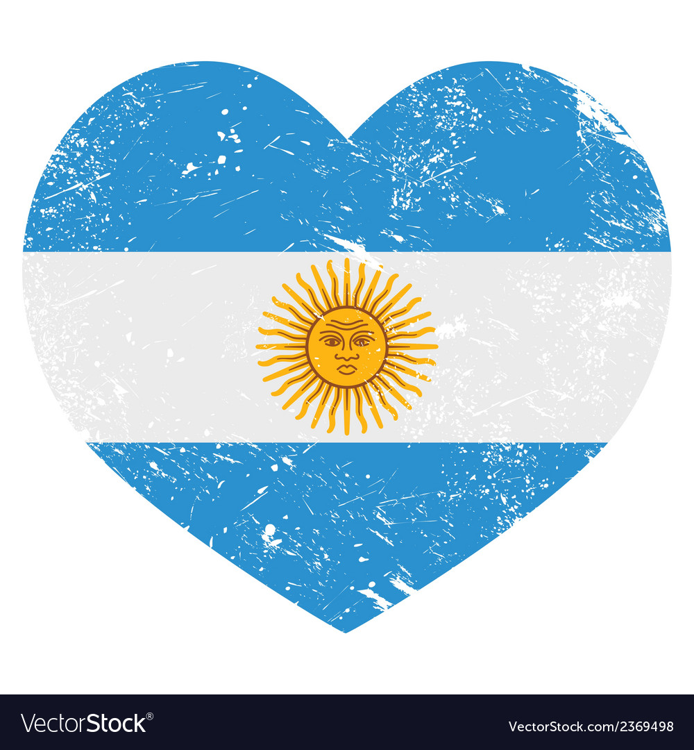 Argentina retro heart shaped flag vector | Price: 1 Credit (USD $1)
