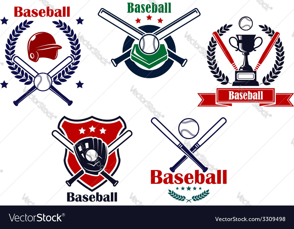 Colored baseball emblems and badges vector | Price: 1 Credit (USD $1)