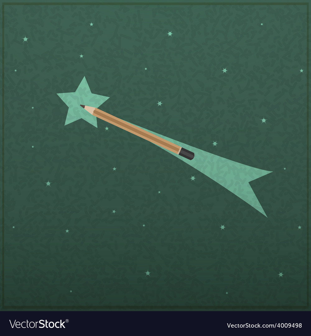 Creativity learning of comet and stars with pencil vector | Price: 1 Credit (USD $1)
