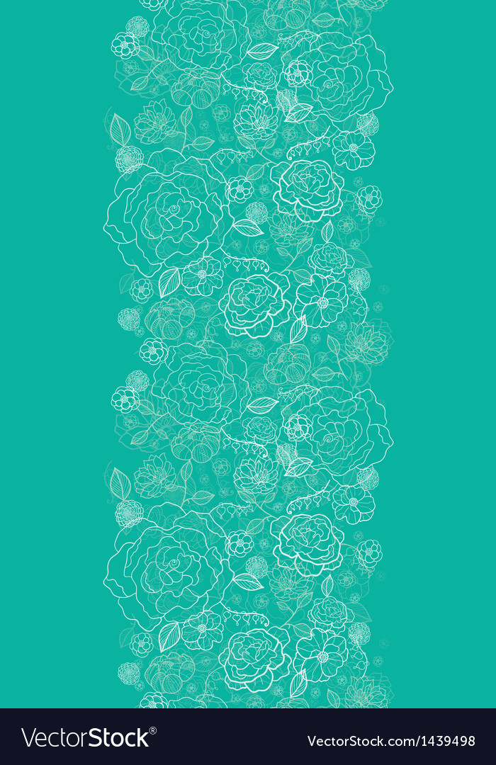 Emerald green floral lineart vertical seamless vector | Price: 1 Credit (USD $1)