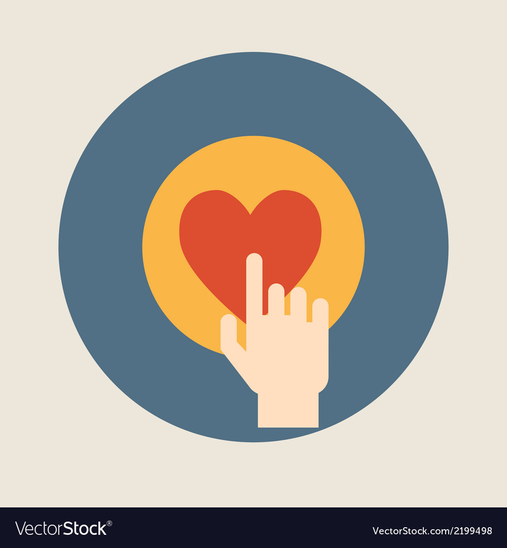 Hand pressing like  heart  button flat design vector | Price: 1 Credit (USD $1)