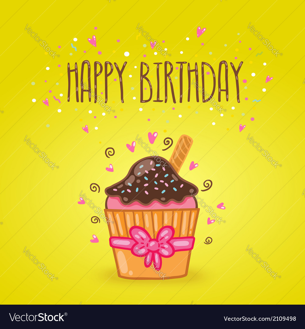 Happy birthday card background with cupcake vector | Price: 1 Credit (USD $1)