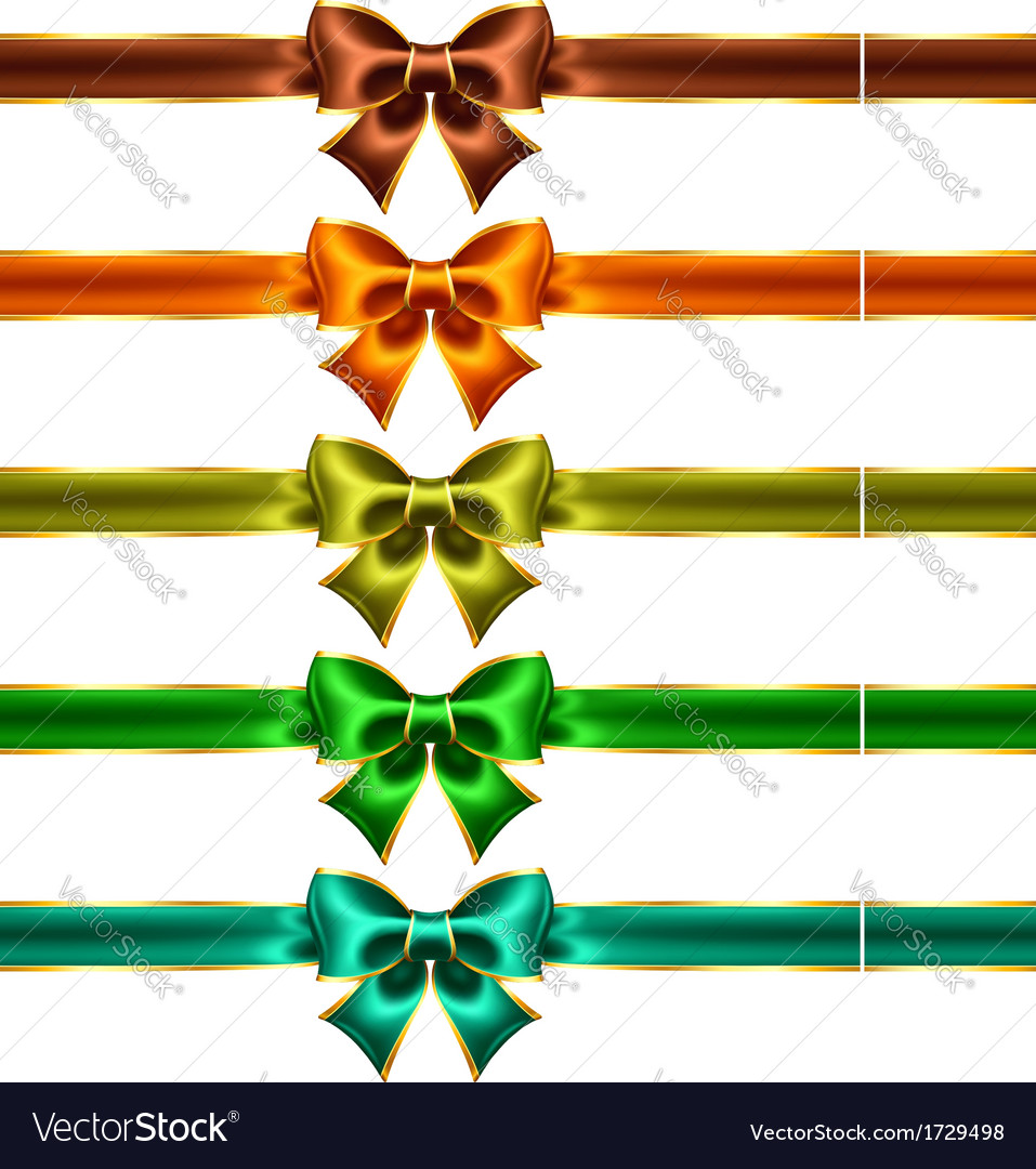 Holiday bows with gold edging and ribbons vector | Price: 1 Credit (USD $1)