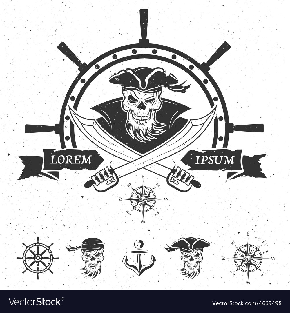 Pirate emblem and design elements vector | Price: 1 Credit (USD $1)