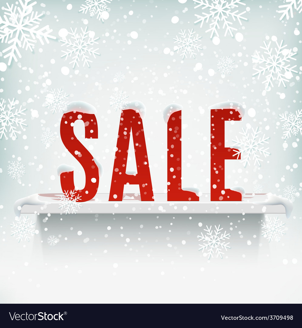 Sale poster with white realistic shelf on winter vector | Price: 1 Credit (USD $1)