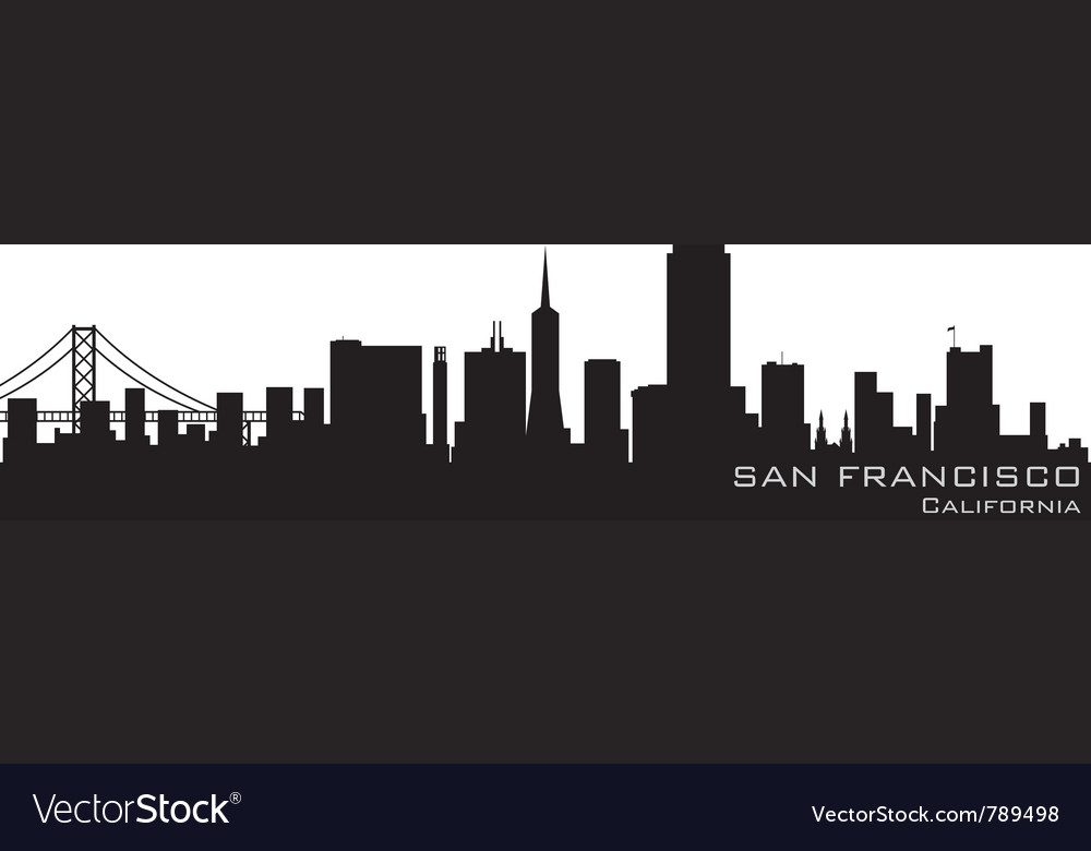 San francisco california skyline detailed silhouet vector | Price: 1 Credit (USD $1)