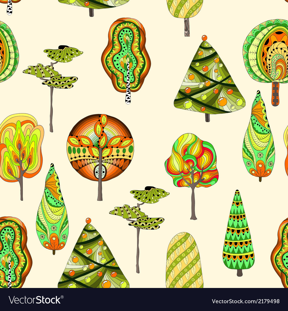 Seamless pattern with doodle trees vector | Price: 1 Credit (USD $1)