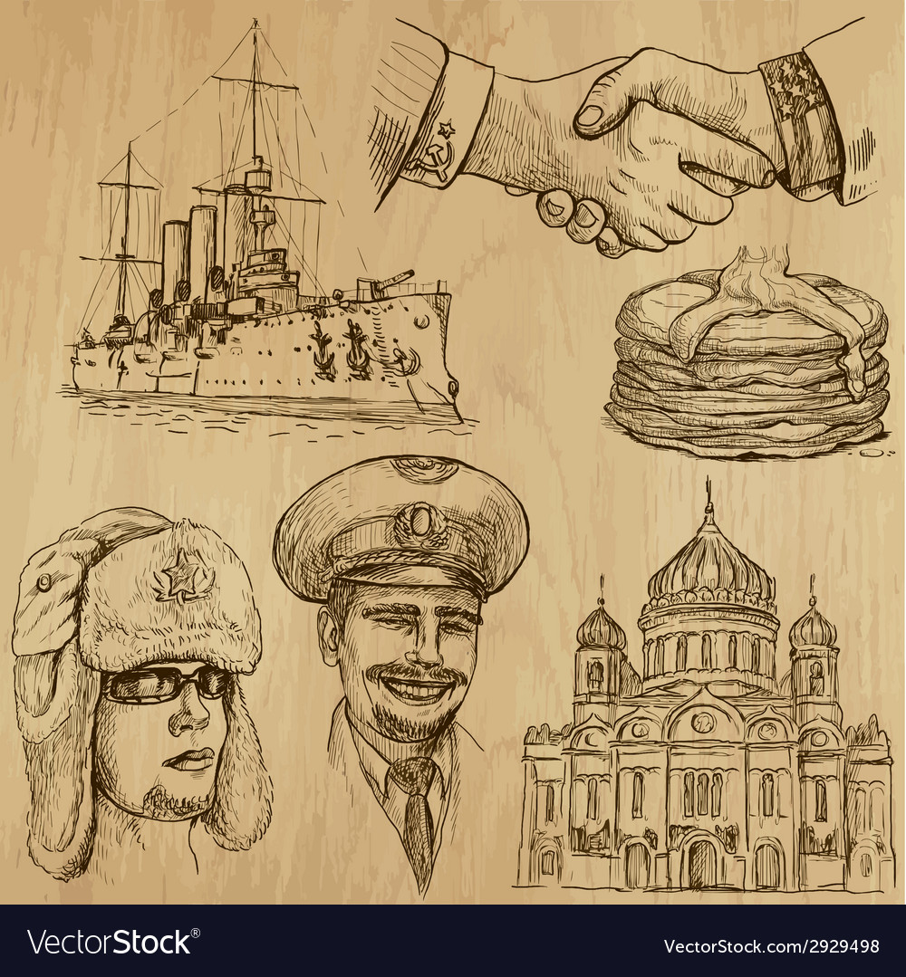 Traveling russia - an hand drawn pack vector | Price: 1 Credit (USD $1)