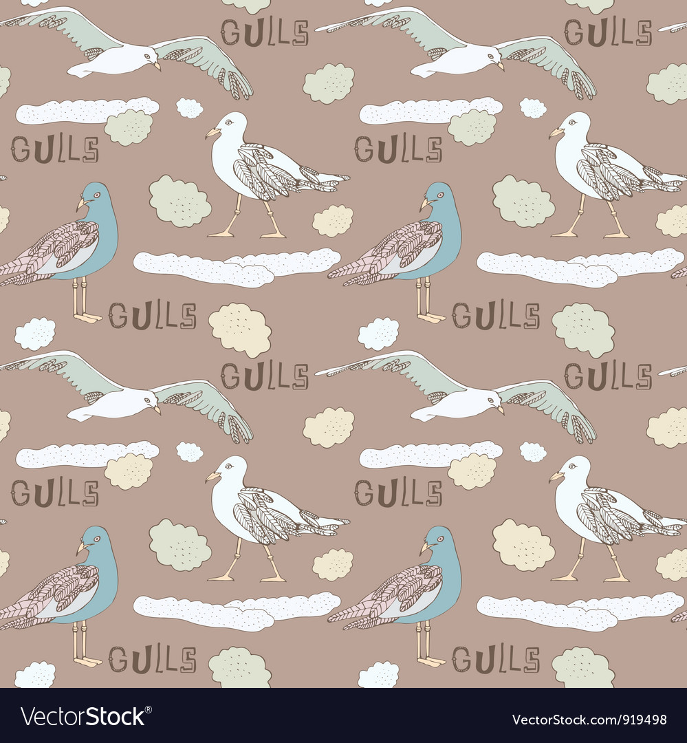 Vintage seagull pattern background vector | Price: 1 Credit (USD $1)